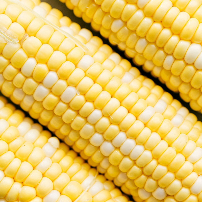 Up close photo of corn about to be grilled