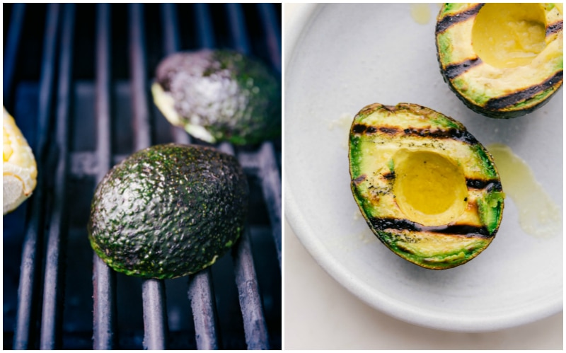 Process shots for preparing grilled avocados