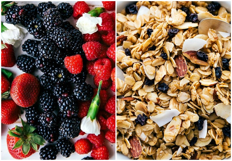 Image of the berries and granola that goes into these yogurt parfait