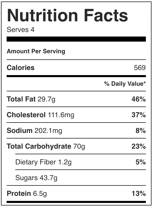Nutrition Facts in bakery style chocolate chip cookies