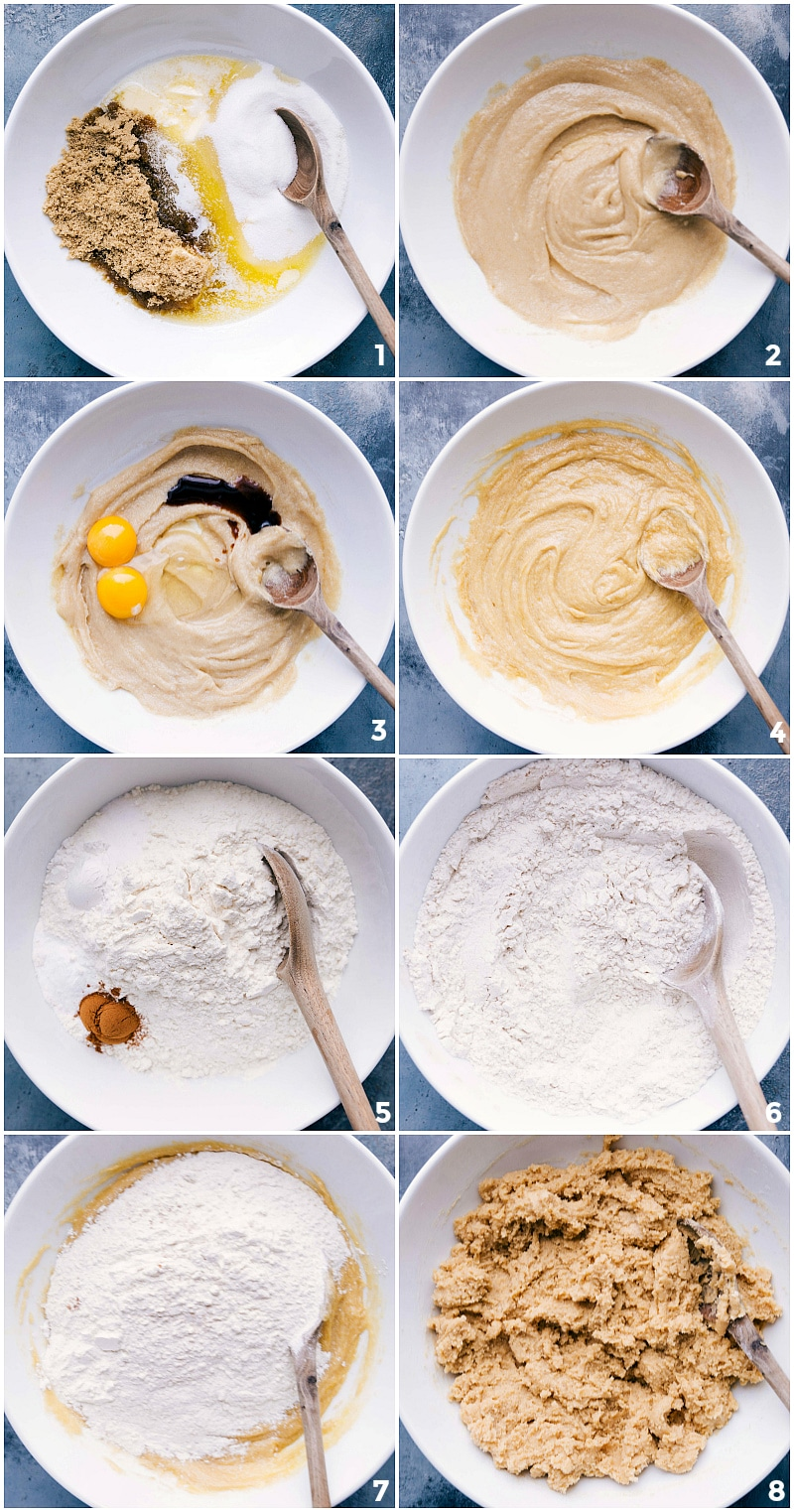 Process shots-- images of the dough being made, showing all the ingredients and them being mixed together.