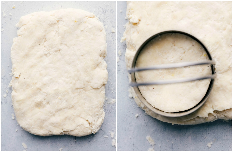 Image of the pastry cutter cutting a circle in the dough for the perfect biscuit for these strawberry shortcakes