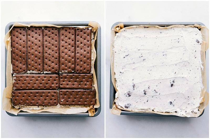 Process shot-- Image of the ice cream sandwich and ice cream layers for this easy ice cream sandwich dessert
