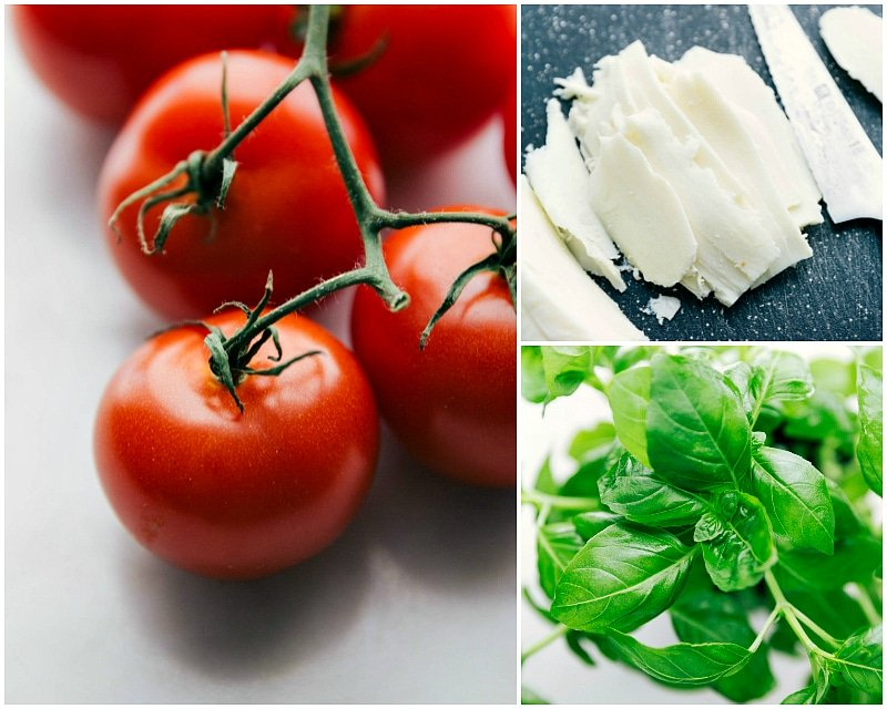 Process shot-- Image of the tomatos, mozzarella cheese, and basil that go into this Margherita pizza recipe