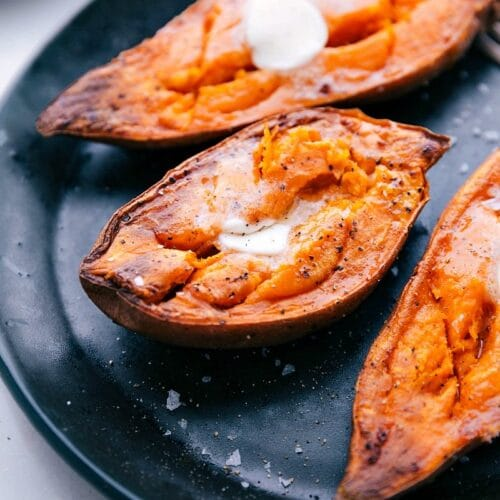 Baked Sweet Potatoes Ready In Half The Time Chelsea S Messy Apron