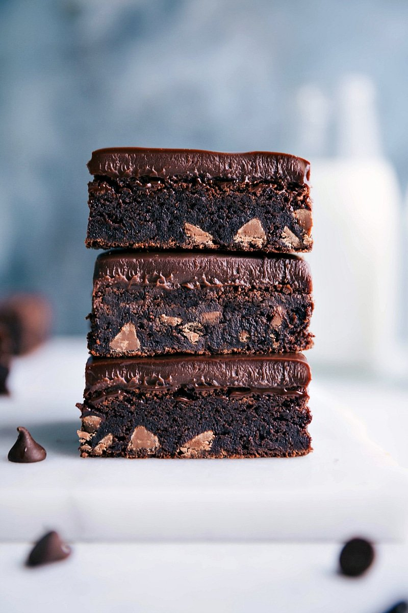 Image of the gluten free brownies stacked on top of each other