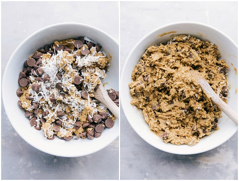Process shot-- Image of the chocolate chips and coconut being mixed together into the dough for these Coconut-Oatmeal Cookies.