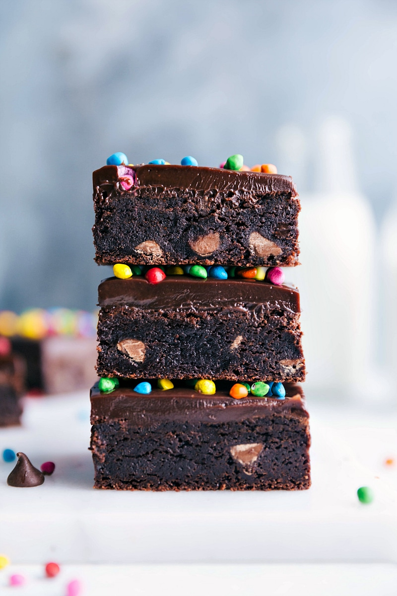 Image of Cosmic Brownies stacked and ready to eat.