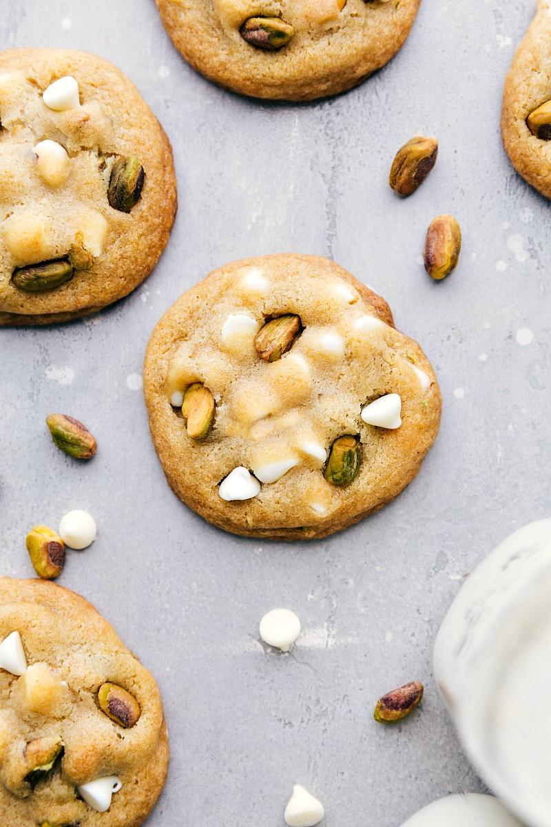Overhead image of the baked Pistachio Cookies.