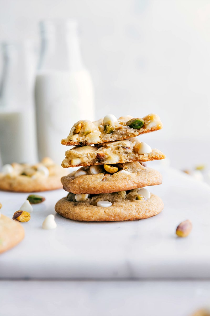 Image of the Pistachio Cookies being stacked on top of each other.