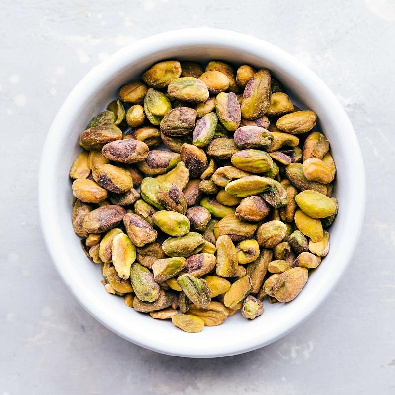 Overhead image of the pistachios that go in this pistachio nut cookie recipe