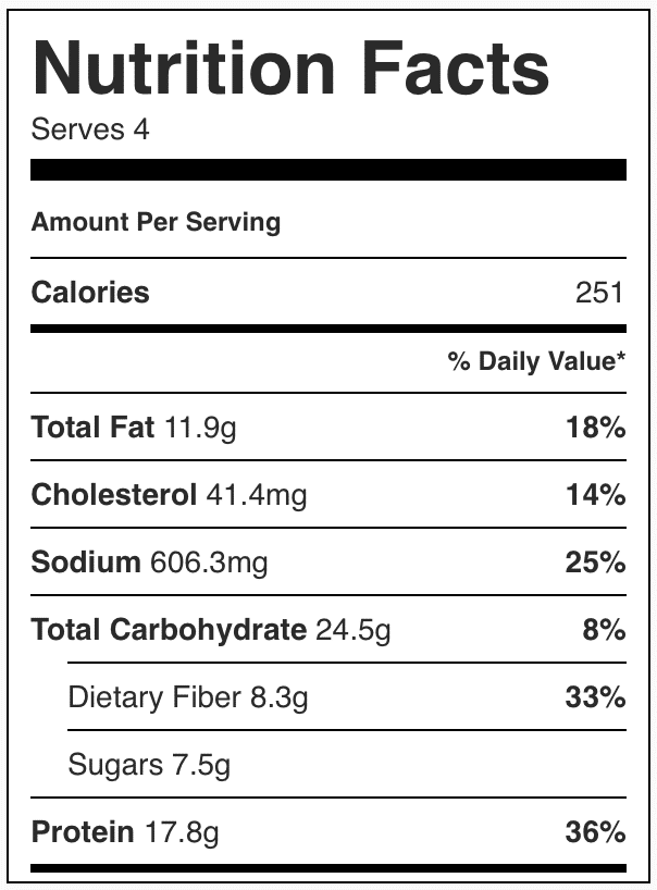 Nutrition facts in chicken stir fry