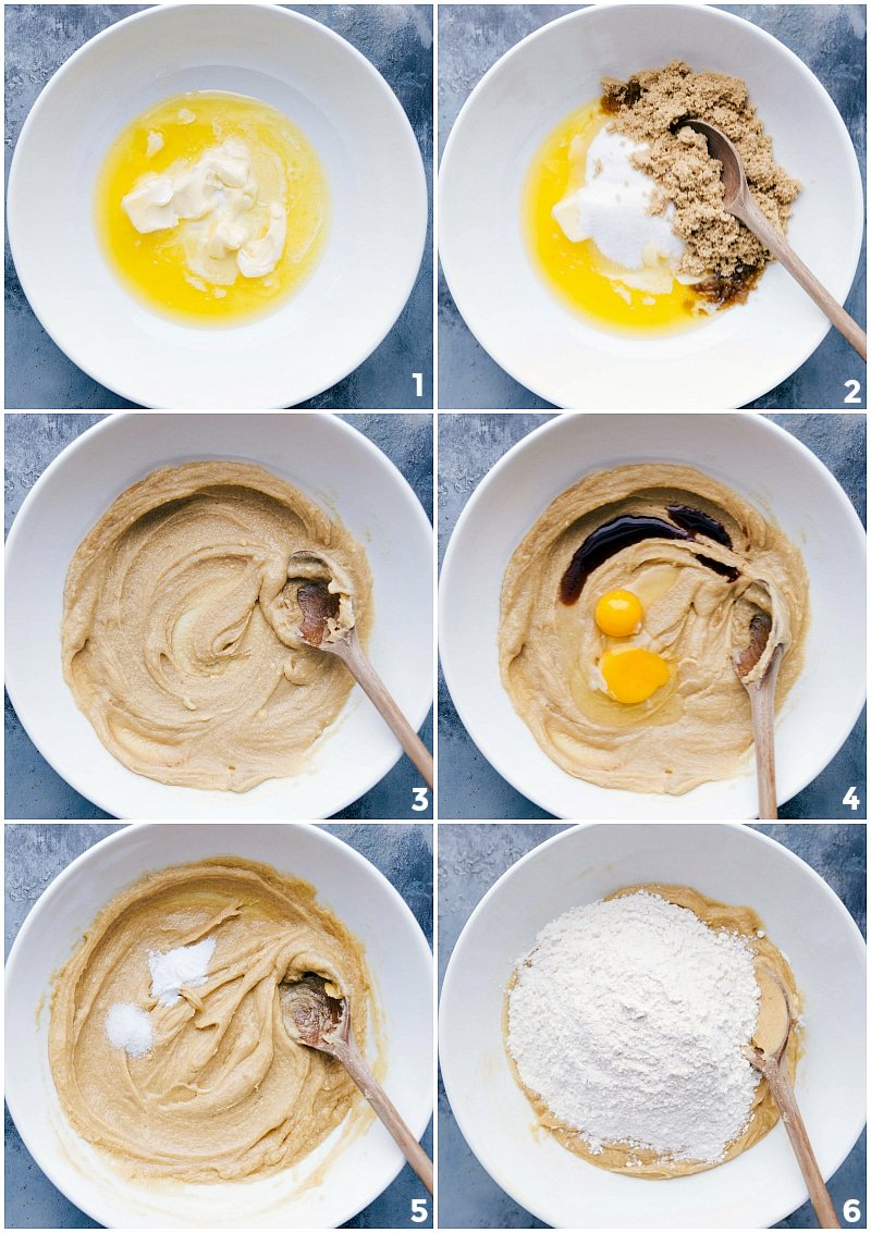 Process shots-- images of the Toffee Cookie dough being measured and mixed together; adding the wet and the dry ingredients.