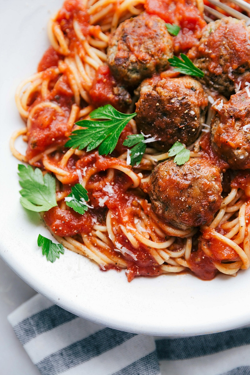 Finished shot of Turkey Meatballs mixed with pasta and red sauce, ready to eat.