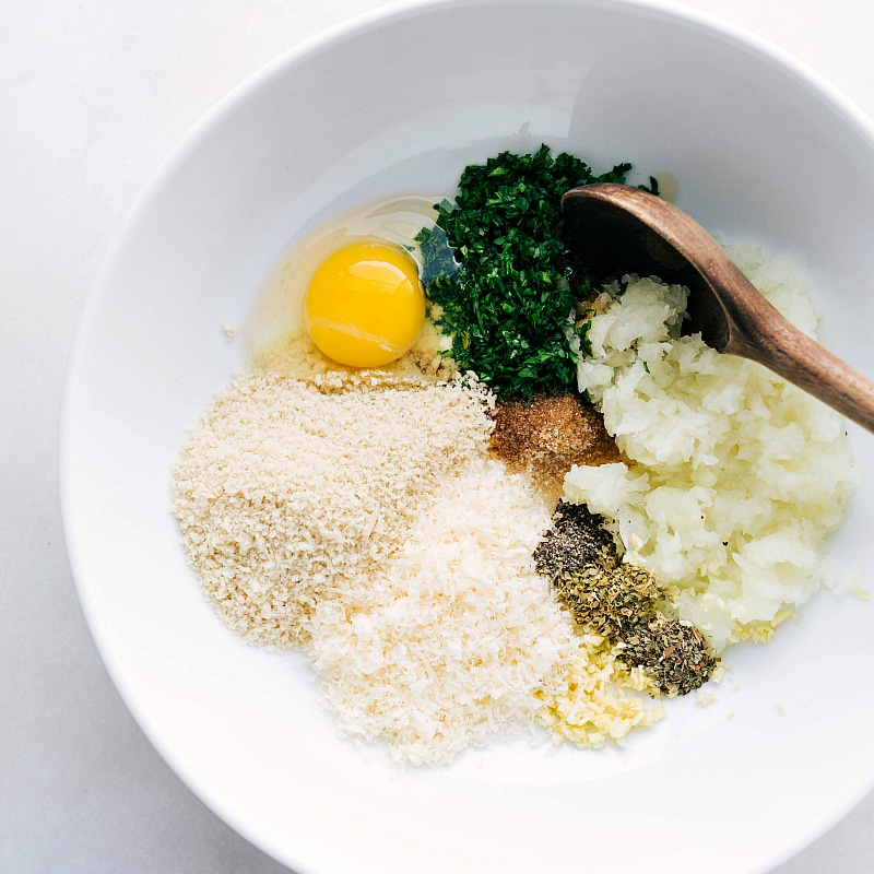 Process shot--Image of all the ingredients in a bowl ready to be mixed