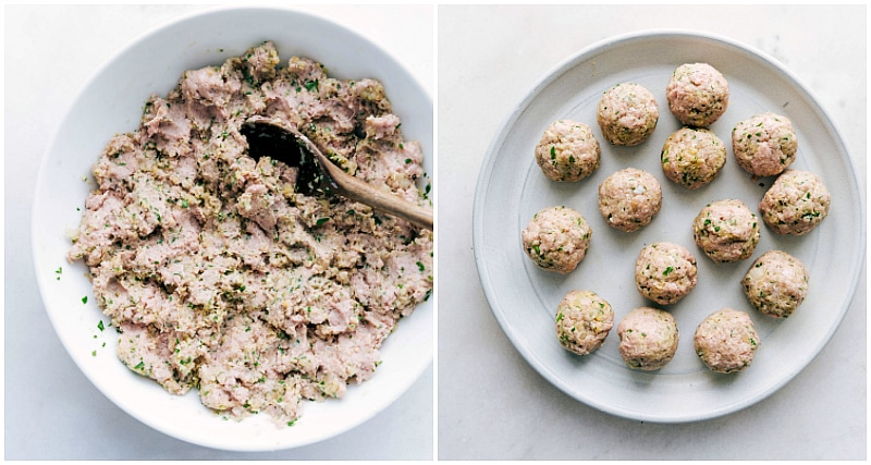 Image of the ground turkey meatballs in the bowl all mixed together and then another image of them all rolled into a ball