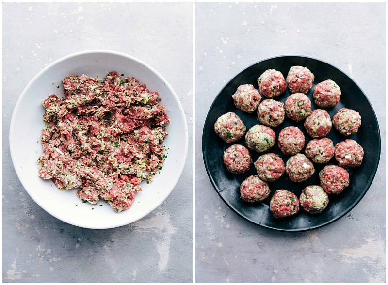 Process shot-- image of the raw meat being rolled into balls.