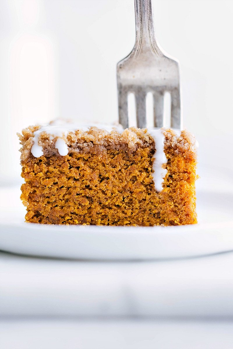 Image of Pumpkin Coffee Cake slice with a fork in it-- ready to be eaten.