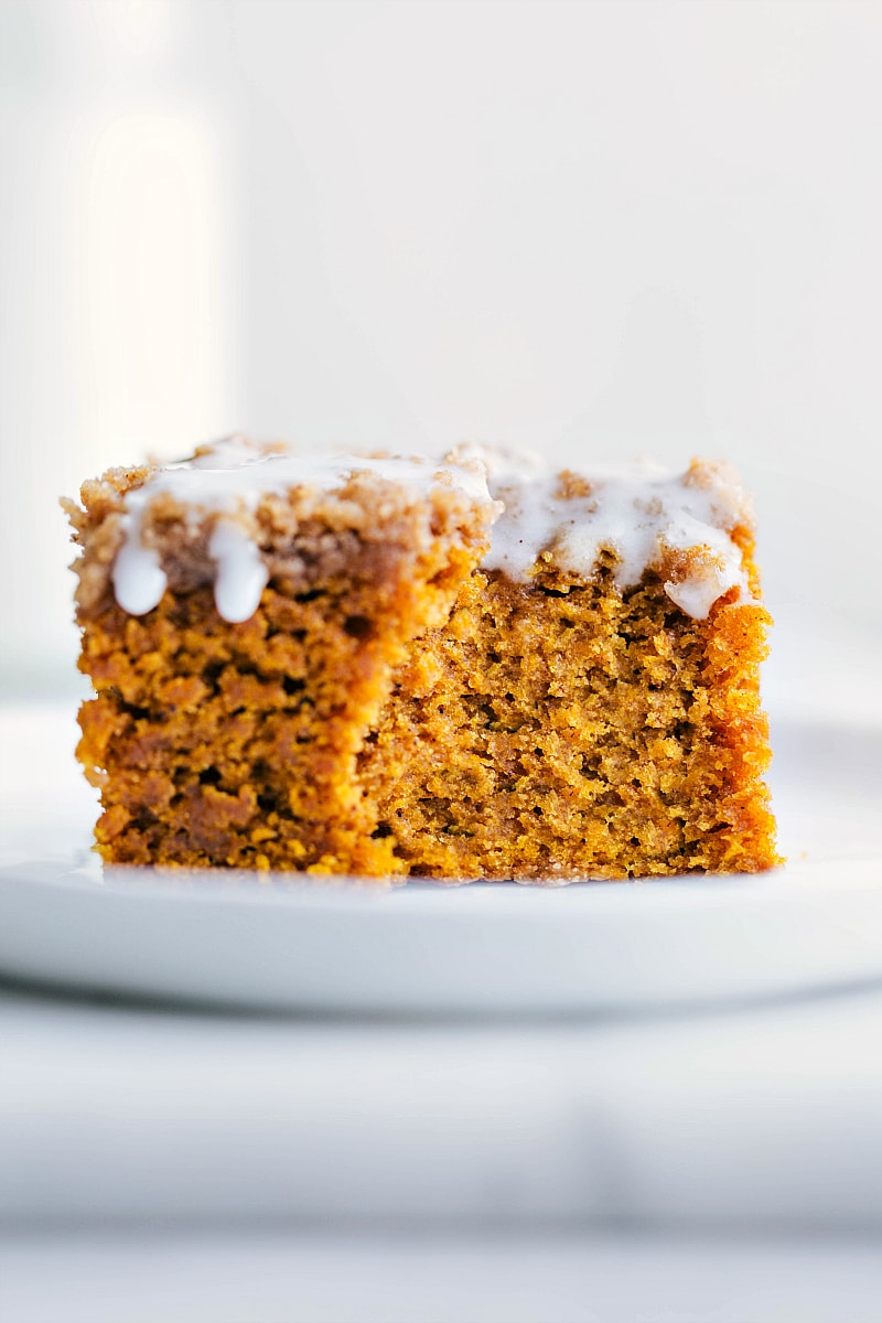 Up-close images of Pumpkin Coffee Cake with a bite out of it.