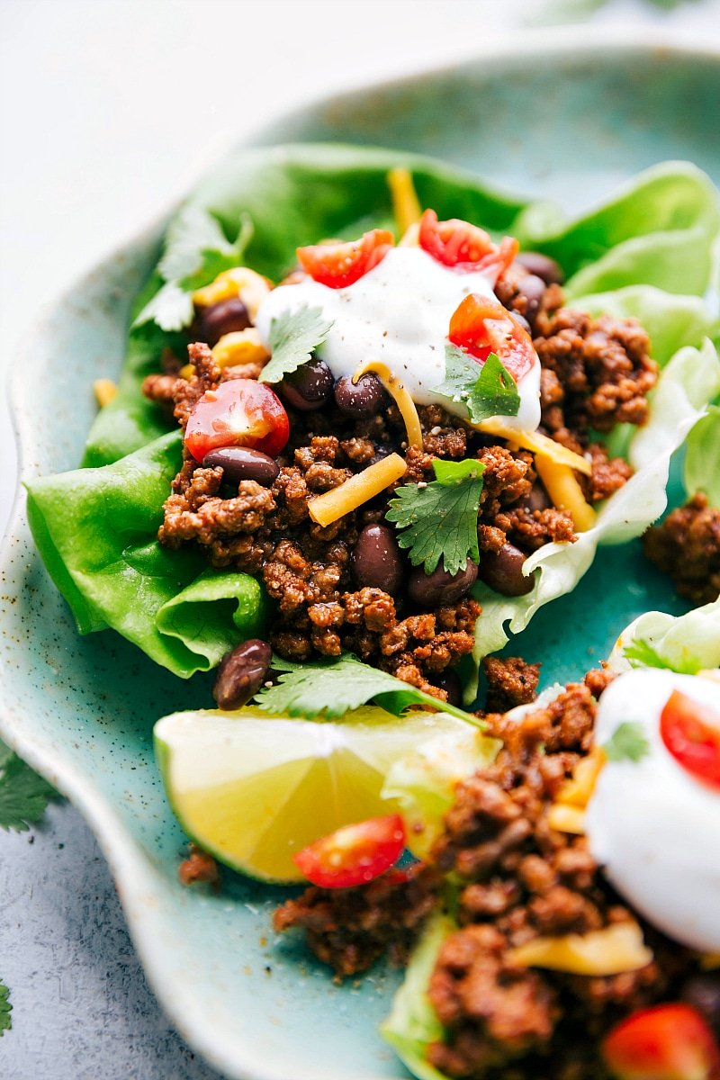 Image of the ready to eat taco lettuce wraps on a plate