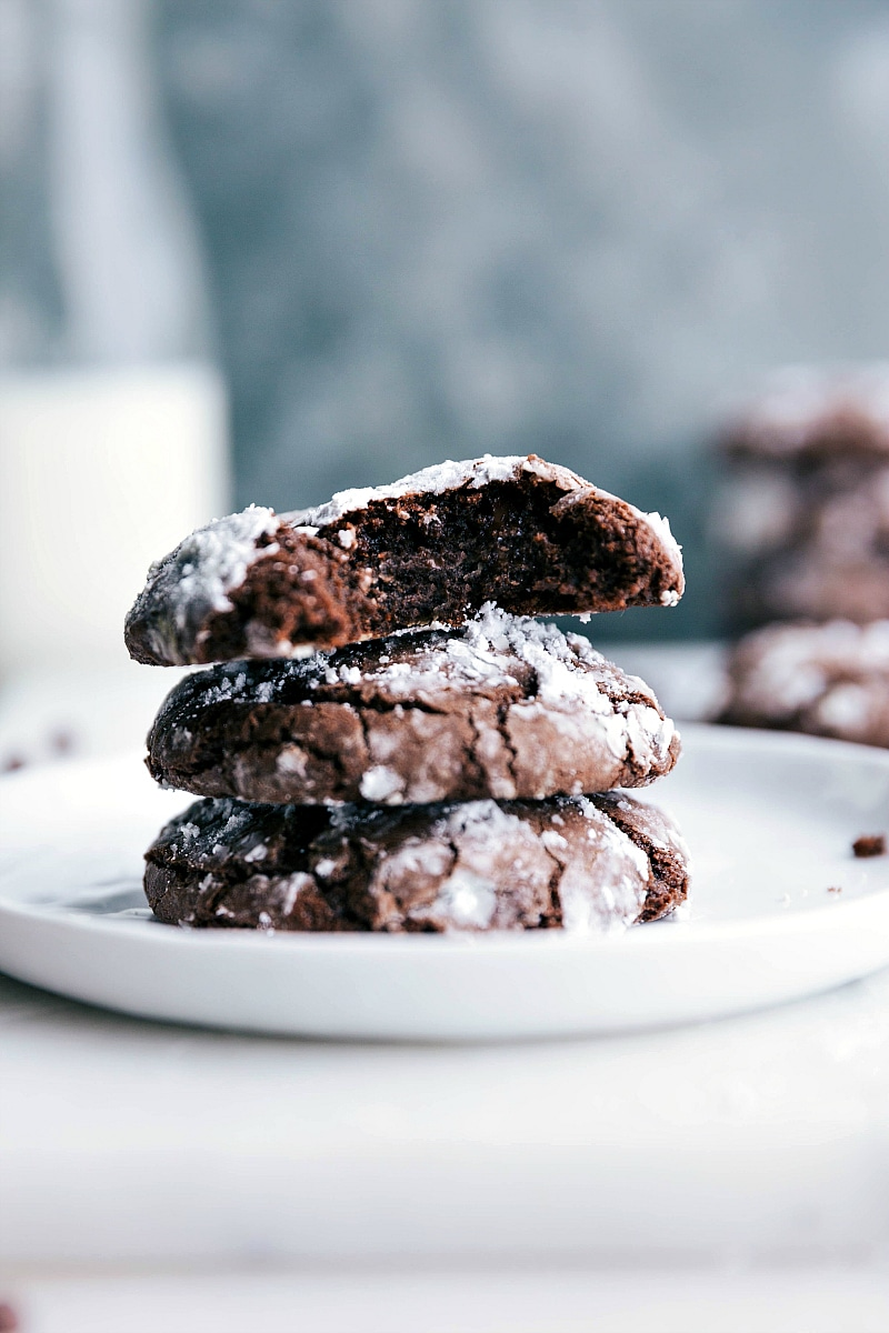 Up-close image of three stacked Chocolate Crinkle Cookies.