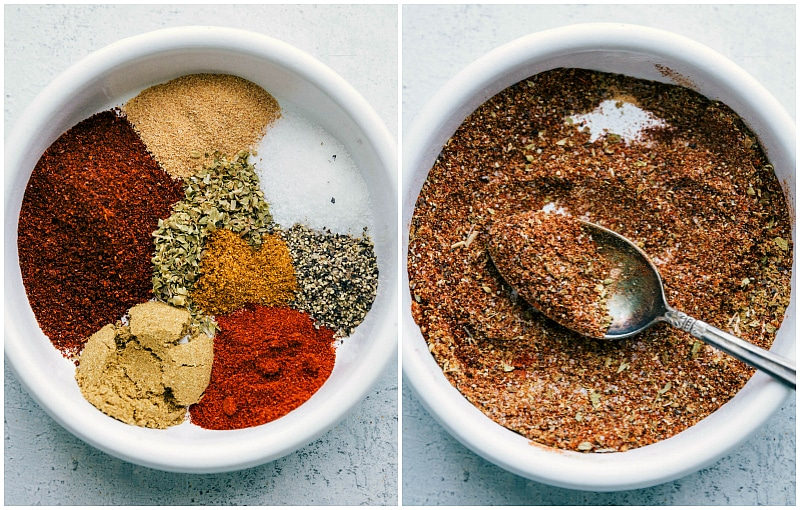 Image of the taco seasonings being mixed together.