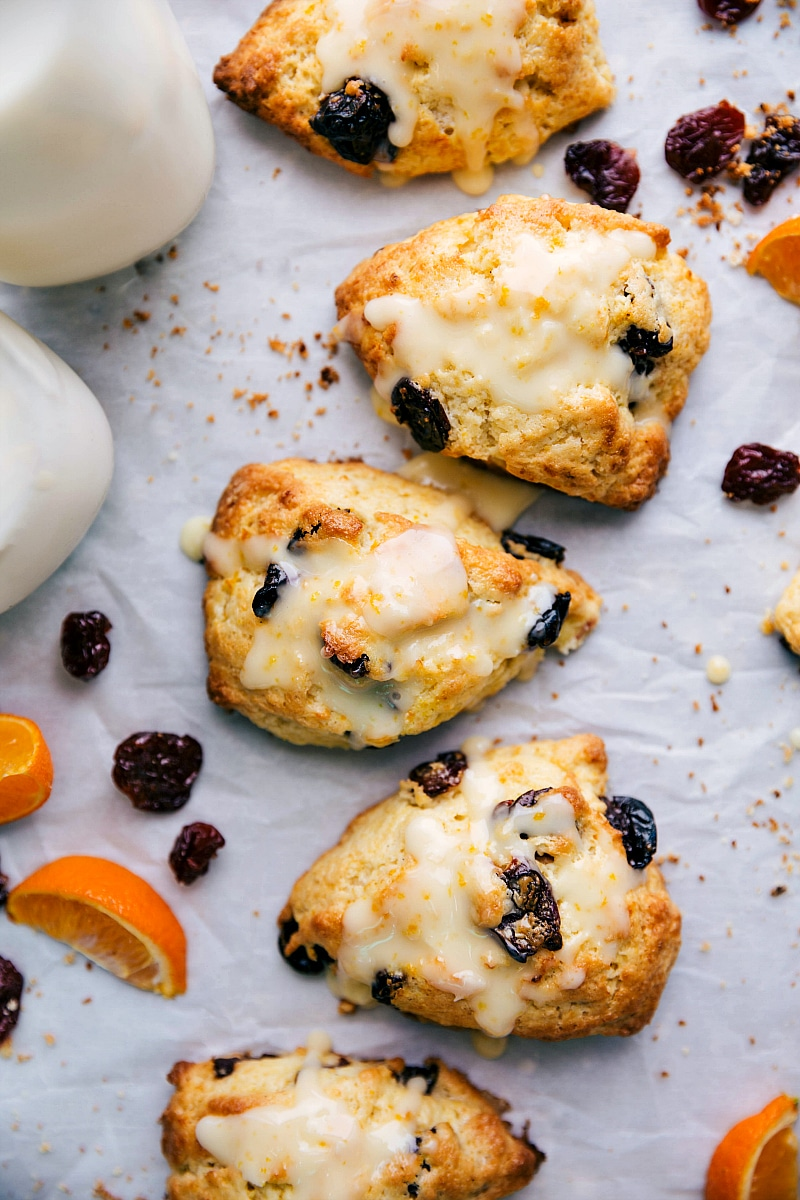 Overhead image of the ready to eat cherry scones