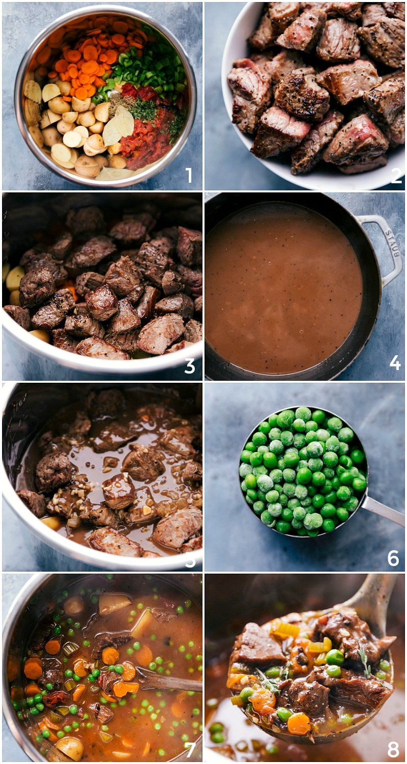 Process shots of all the vegetables being added to the Instant Pot; then the seared beef goes in; and then everything being cooked; peas added at the end.