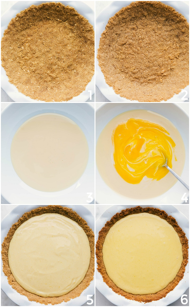 Process shot-- image of the crust, and images of the filling being added to the pie