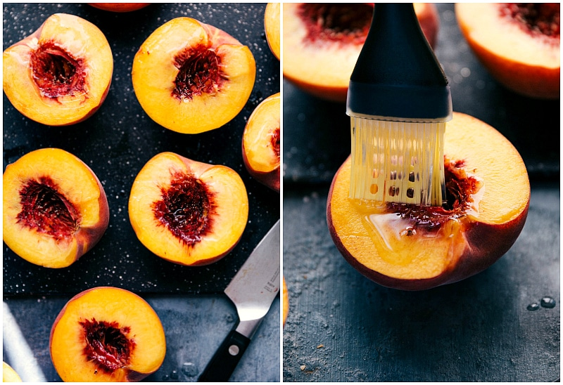 Process shot-- image of the oil being added to the peaches for Peach Salsa Chicken.