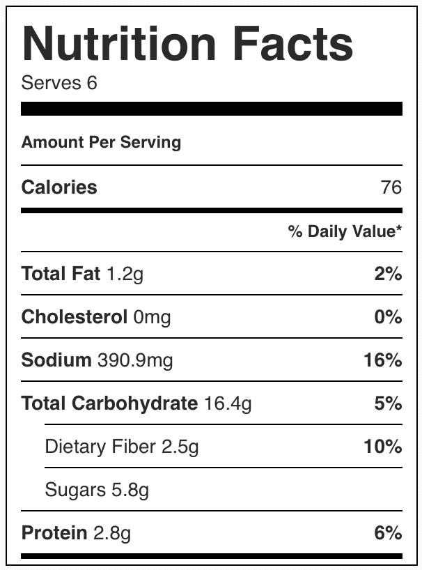 Nutrition facts in corn salsa recipe