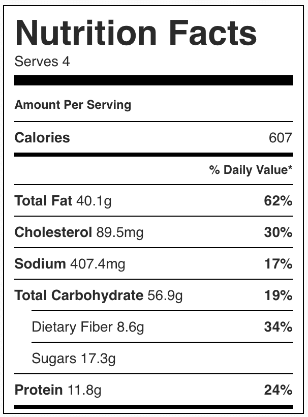 Nutrition facts in vegetarian Shepards pie