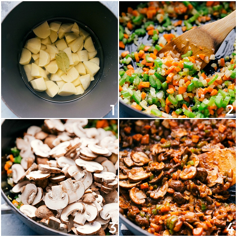 Process shots-- image of the Shepards pie being made: cooking potatoes; browning veggies; preparing mushrooms; putting it all together.