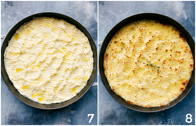 Images of the mashed potato topping, before and after broiling.
