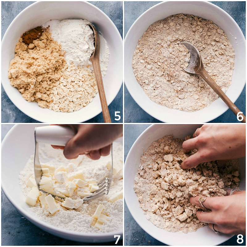 Process shot-- image of the crumble being made showing the ingredients all being put in a bowl and the butter being cut in