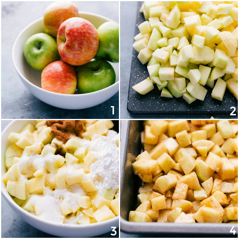 Process shot-- image of the apple filling being made with fresh apples