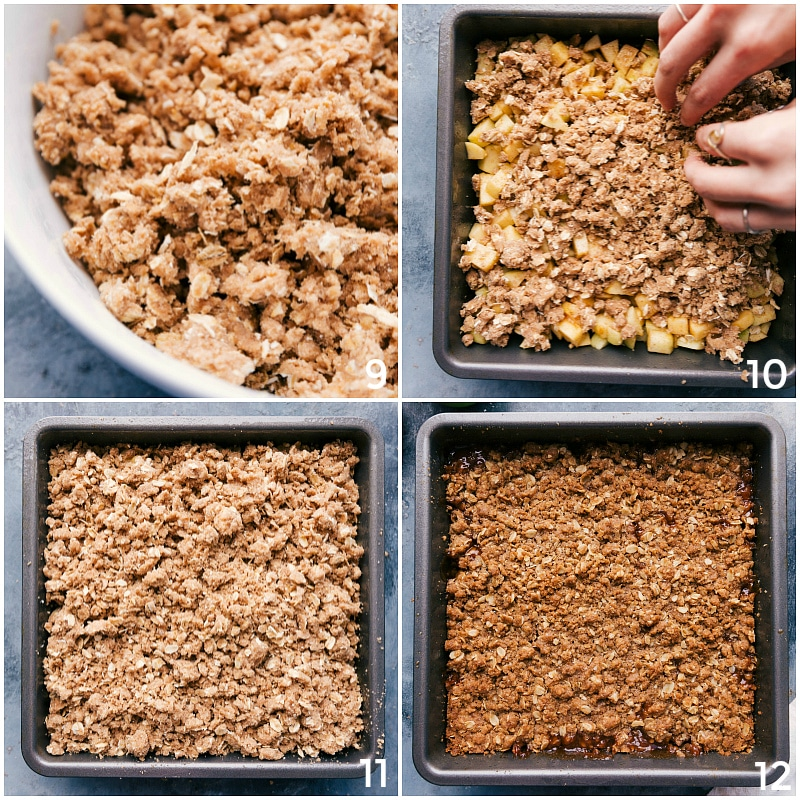 Process shot-- image of the crumble being added on top of the filling and baked