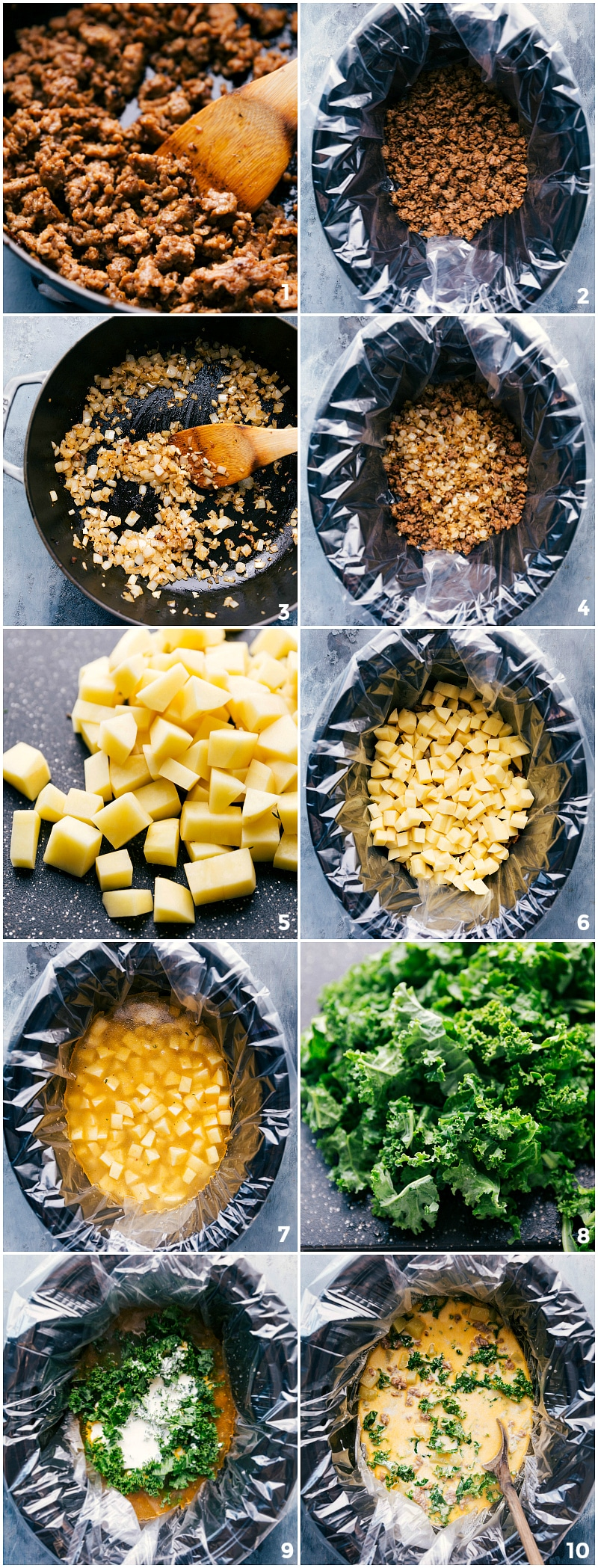 Process shots of this zuppa toscana soup being made showing the meat being cooked, potatoes being added, and kale being added and mixed together