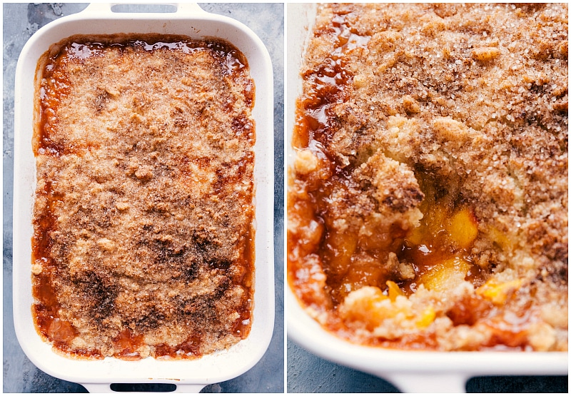 Image of the baked easy peach cobbler fresh out of the oven
