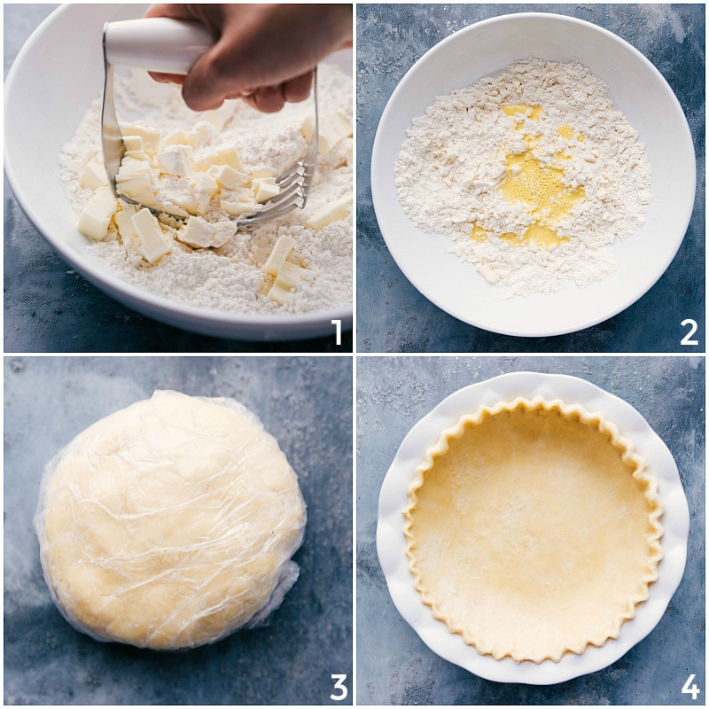 Process shots-- image of the crust being made and then put into the tin