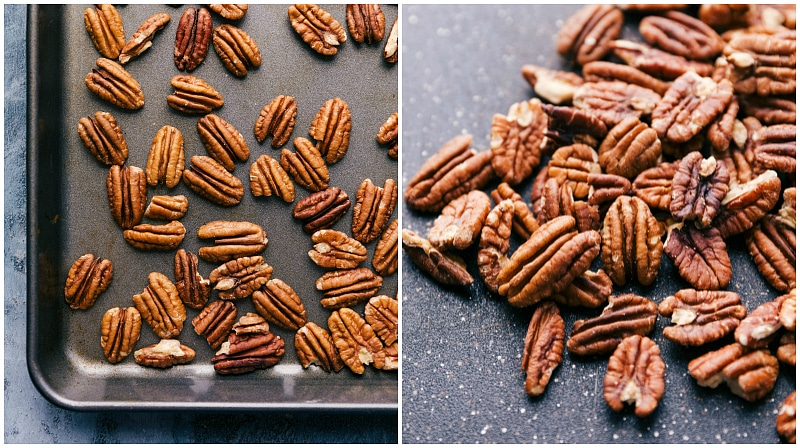 Process shot-- image of the pecans on a tray being toasted.