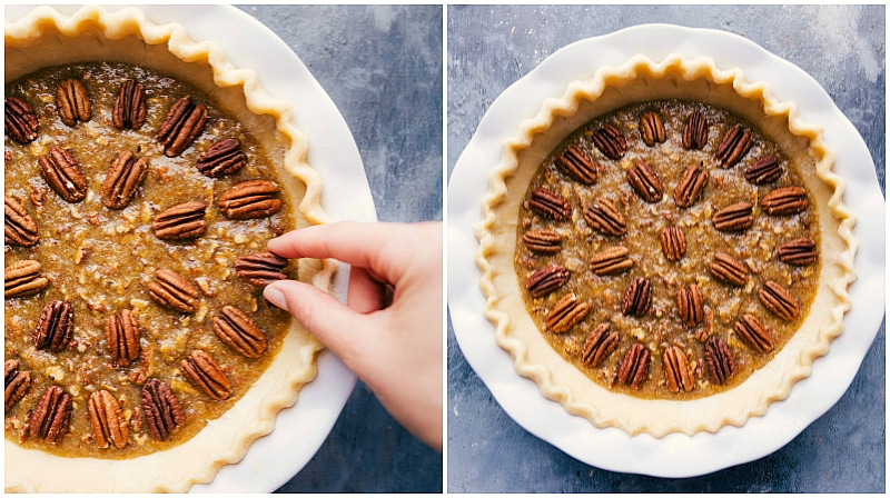 Process shot-- image of the pecans being placed on top of the pie before baking