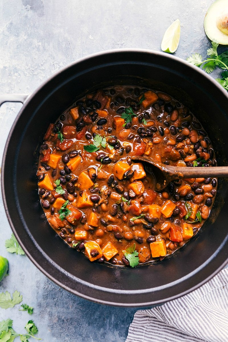 Overhead image of Sweet Potato Black Bean Chili in the pot, ready to be served.