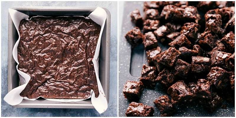 Process shot-- image of the brownies being made for this brownie trifle