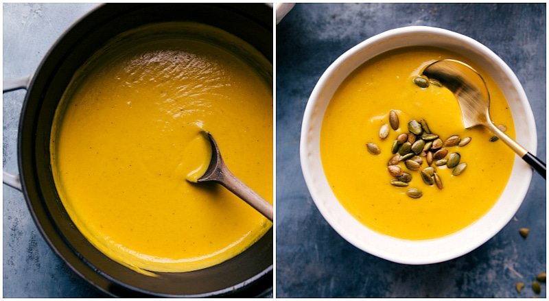 Overhead image of the butternut squash soup in the pot and in the bowl ready to be eaten/served