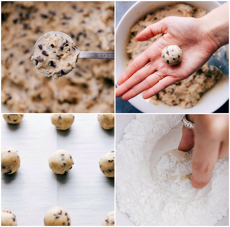 Process shots-- images of the cookie dough being rolled, baked, and rolled in powdered sugar