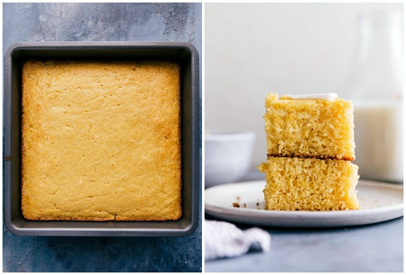 Images of the baked cornbread recipe ready to eat
