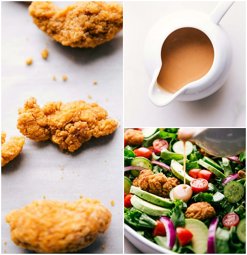 Image of the crispy chicken, sauce, and sauce being poured on the salad