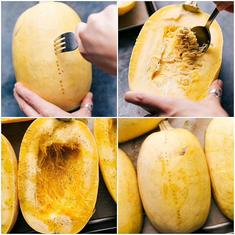 Process shots-- images of the spaghetti squash being prepped to be baked and then being put on the sheet pan to cook