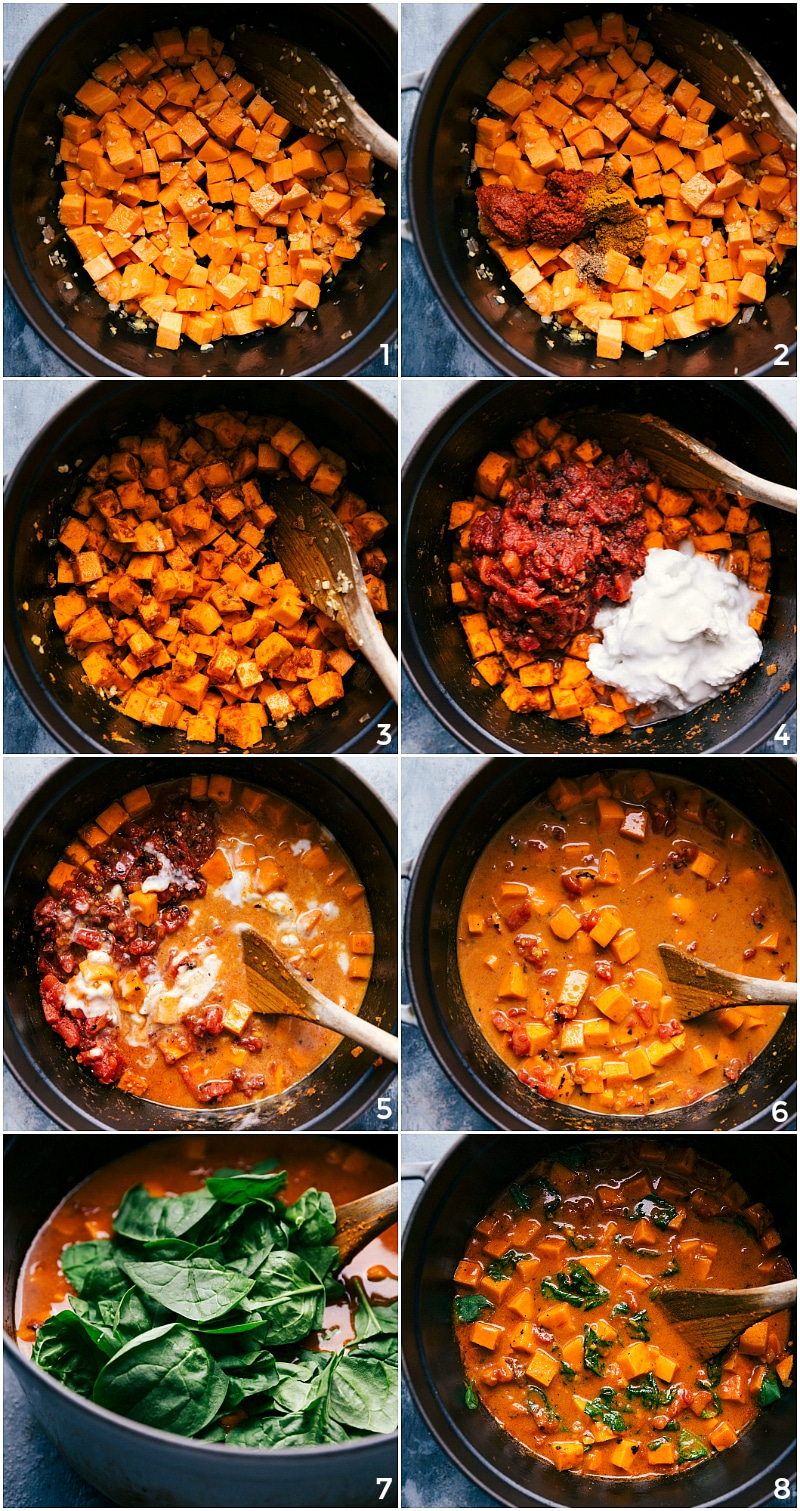 Process shots-- images of the sweet potatoes being cooked; the other ingredients and seasonings being added on top; more simmering; adding spinach to the mixture; ready to serve.
